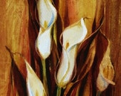 White Calla Lilies Watercolor Painting Original Art