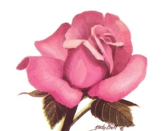 Pink Rose Art Print - Watercolor