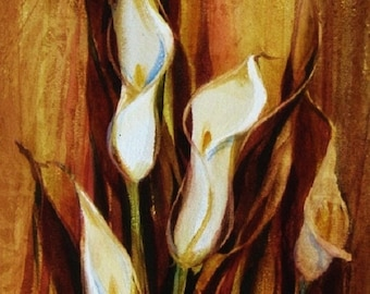 White Calla Lilies Watercolor Painting Original Art