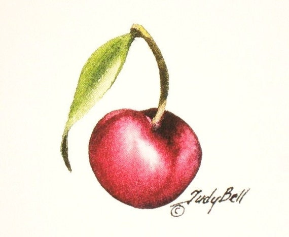 Bing Cherry, Red Fruit Print, Watercolor Painting