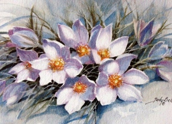 Crocus Wildflower Print - Watercolor Painting