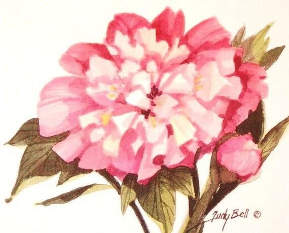 Peony Flower Print Watercolor Painting
