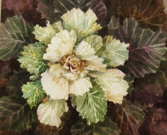 Flowering Cabbage Watercolor Original Painting