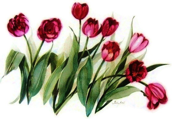 Burgandy Tulips - Watercolor Painting - Wall Decor