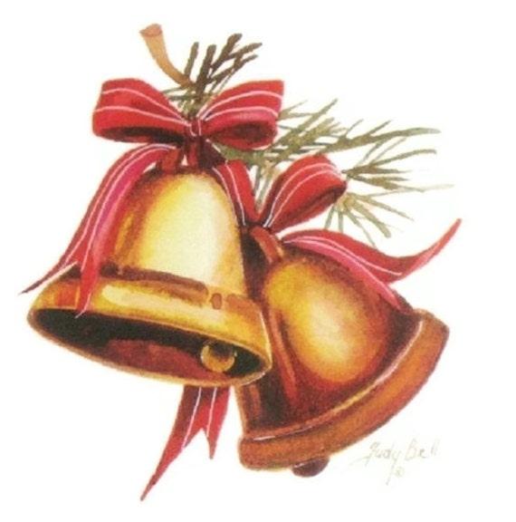 Holiday Bells Print, Christmas Art, Wall Decor, Watercolor Print