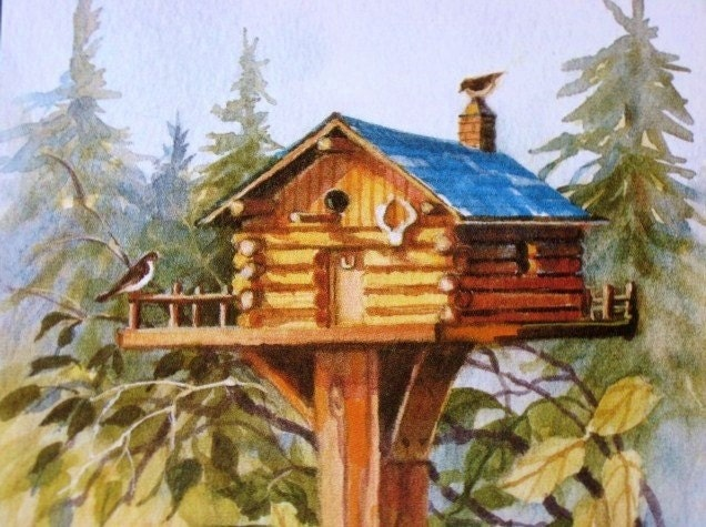 rustic log cabin birdhouses - photo #23