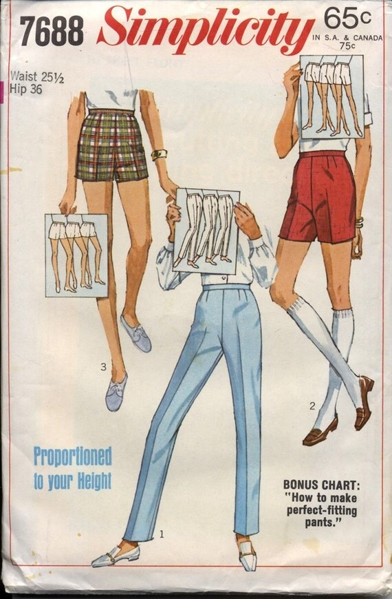 Simplicity 7688 Misses Skinny Pants Side Zip Cigarette Pants and Shorts 1960s Womens Vintage Sewing Pattern Waist 25 UNCUT