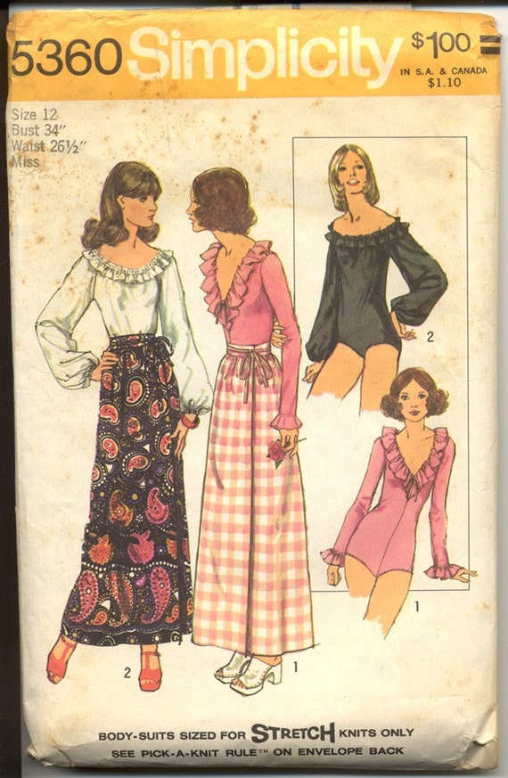 Simplicity 5360 Misses 1970s Body Suit & Skirt Pattern Ruffled Neck Off The Shoulder Maxi Wrap Skirt Womens Vintage Sewing Pattern Bust 34