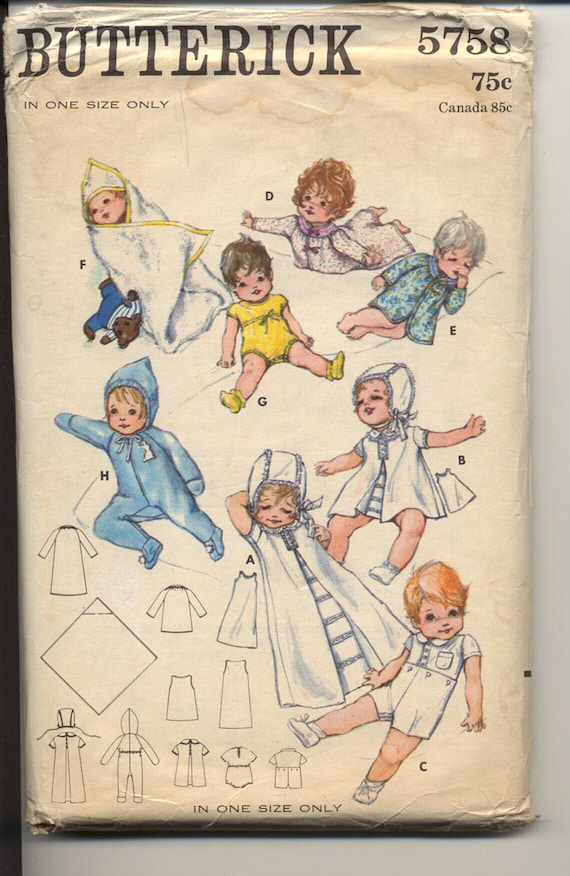 Butterick 5758 Infant Layette Unisex One Size 1960s Vintage Baby Sewing Pattern UNCUT