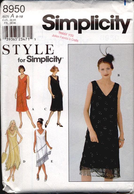 Simplicity 8950 Misses 1920s Fringed Flapper Dress Vintage