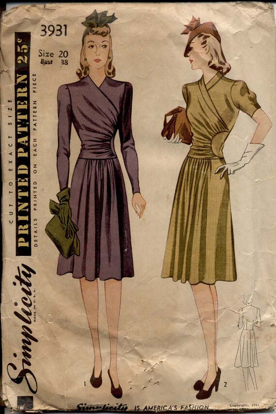 Simplicity 3931 Misses 1940s Surplice Swing Dress Pattern Short or Long Fitted Sleeves Womens Vintage Sewing Pattern Bust 38