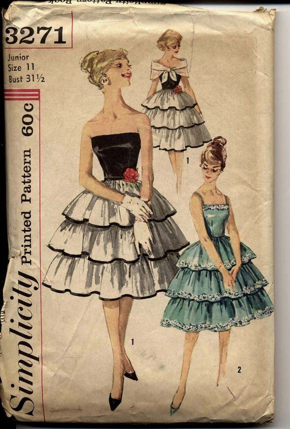 Simplicity 3271 Juniors 1950s Dress Pattern Strapless Tiered