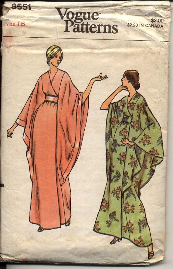 Vogue 8551 Misses Kimono Wrap Robe Bat Wing Cape By