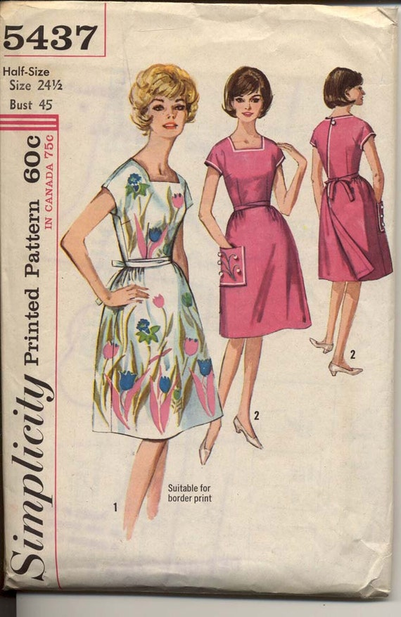 Simplicity 5437 Womens 1960s Back Wrap Dress Pattern Square Neck Short Kimono Sleeves Embroidery Transfer Vintage Sewing Pattern Bust 45