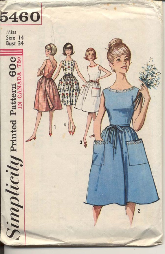 Simplicity 5460 Misses 1960s V Back Wrap Dress Pattern Sleeveless Low Round Neck Big Patch Pockets Womens Vintage Sewing Pattern Bust 34