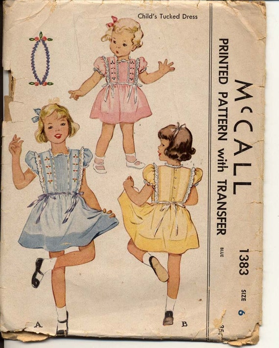 McCall 1383 Girls 1940s Tucked Full Skirt Dress Pattern Puff Sleeve Embroidery and Ribbon Trim Childrens Vintage Sewing Pattern Breast 24