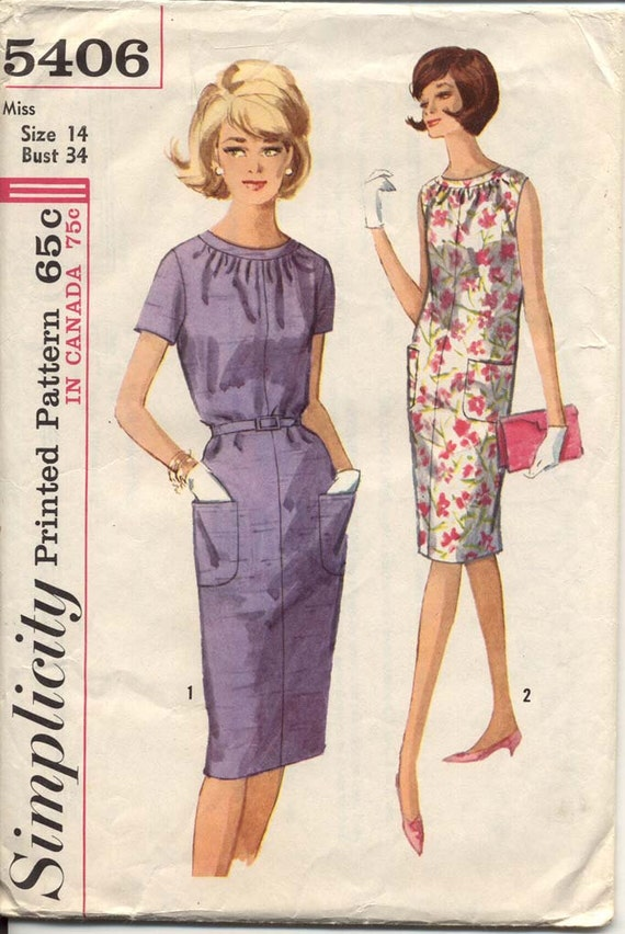 Simplicity 5406 Misses 1960s Shift Dress Pattern Shirred Neckline Two Sleeve Lengths Belt and Pockets Womens Vintage Sewing Pattern Bust 34