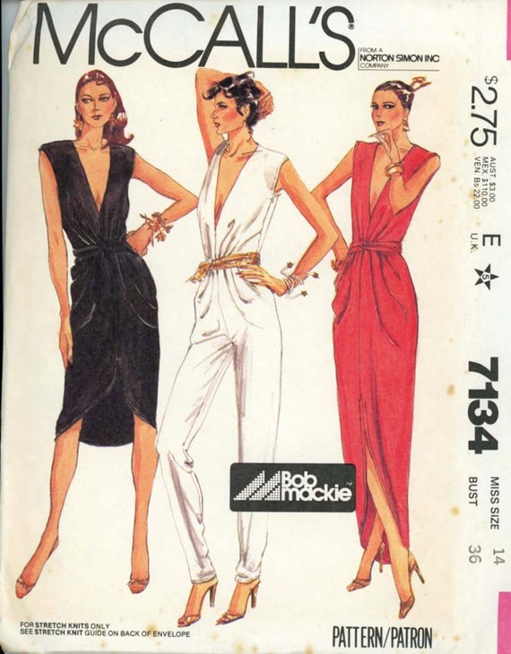 Mccalls 7134 Misses 1980s Bob Mackie Evening Dress Pattern And