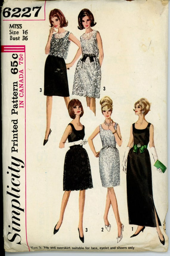Simplicity 6227 Misses 1960s Lace Overlay Dress Pattern Sleeveless Scoop Neck Evening Dress 2 Lengths Womens Vintage Sewing Pattern Bust 36