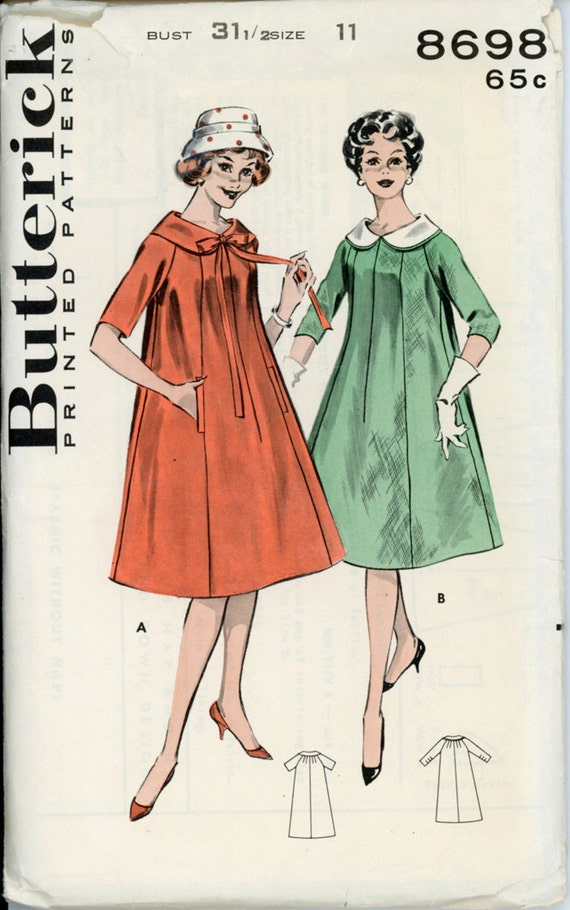 Butterick 8698 Junior 1950s Trapeze Dress Pattern By