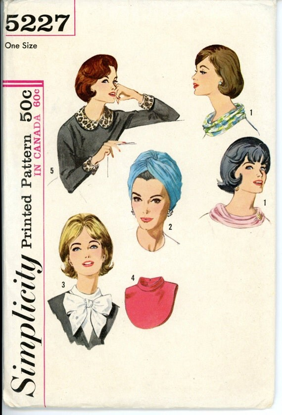 Simplicity 5227 Misses 1960s Hat and Accessories Pattern Turban Dickey Cowl Draped Scarf Collar Cuffs Womens Vintage Sewing Pattern One Size