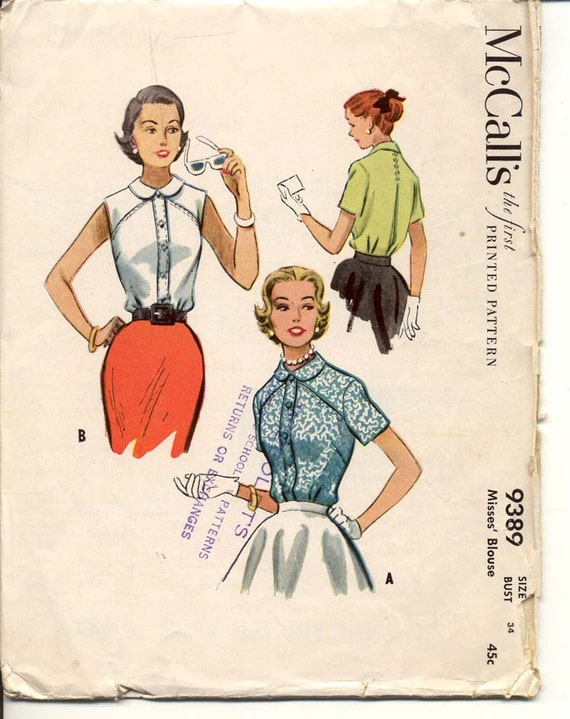 McCalls 9389 Misses 1950s Blouse Pattern Sleeveless or Short Sleeve Fitted Yoked Blouse Rockabilly Womens Vintage Sewing Pattern Bust 34