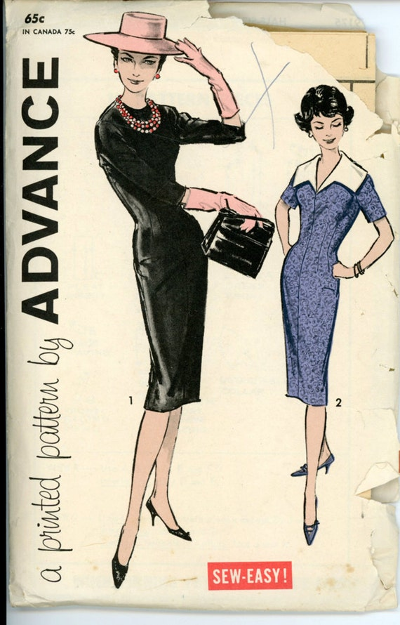 Advance 9175 Misses 1950s Dress Pattern Sheath Dress Detachable Collar Sleeve and Neckline Variations Womens Vintage Sewing Pattern Bust 41