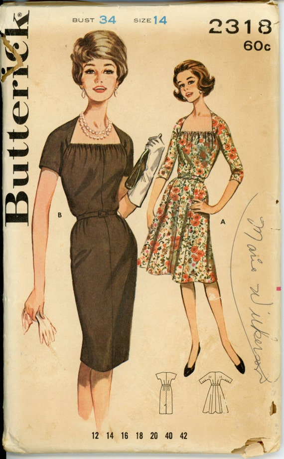 Butterick 2318 Misses 1960s Dress Pattern Square Shirred Neckline Slim or Flared Skirt Kimono Sleeves Womens Vintage Sewing Pattern Bust 34