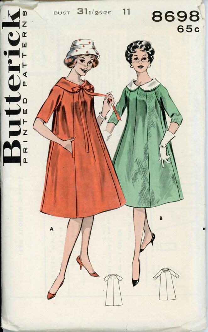 Butterick 8698 Junior 1950s Trapeze Dress Pattern Raglan
