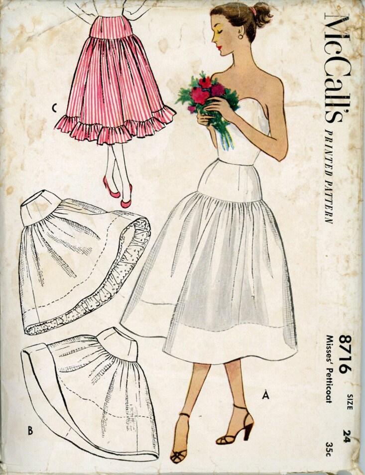 mccalls 8716 misses 1950s petticoat pattern yoked full