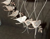 Vintage German Text Bird Baubles -Christmas Ornaments or Hang Tags-