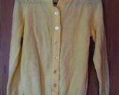 Vintage Pastel Yellow 50s 60s Cardigan M L