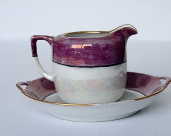 Vintage creamer with saucer purple and white iridescent.