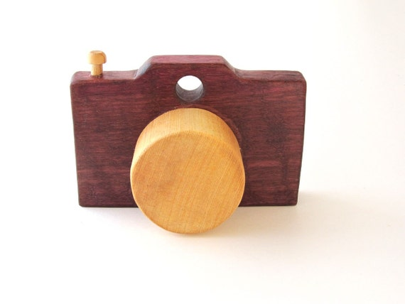Pretend Play Camera - Natural Purple Wooden Toy Camera for infants and ...