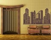 City Skyline Decal, City Wall decal, superhero cityscape, Vinyl Wall Art Decal,