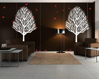Vinyl Decal Wall Art Sticker Mural Set Winter Trees Birds