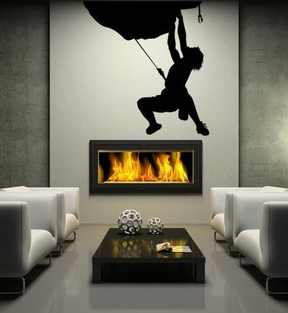 Hanging Mountain Climber Vinyl Decal Wall Art
