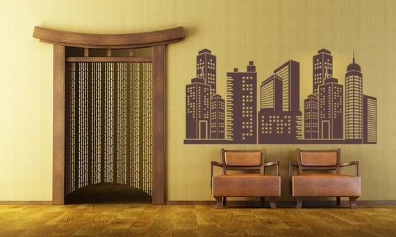 City Skyline Decal, City Wall decal, superhero cityscape, Vinyl Wall Art Decal,