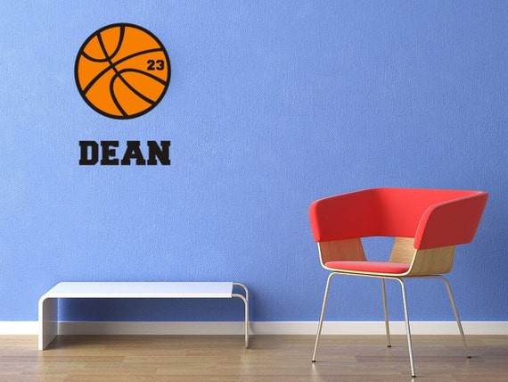 Vinyl Decal Wall Art Sticker Personalized Basketball Name and Number Boys or Girls