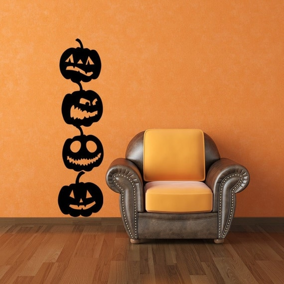 Pumpkin Vinyl Wall Art Decals 4 Pack Halloween Decor Pumpkin Decals Halloween Decals