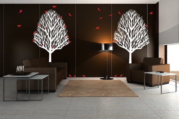 Vinyl Decal Wall Art Sticker Mural Set Winter Trees Birds
