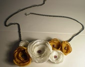 Yellow and White Floral Bib Necklace