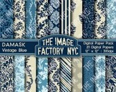 Damask Vintage Blue Digital Mega Paper Pack Collection 20 Digital Papers (TIFNYC-DPP-2) - Download and Print
