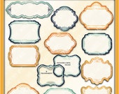 Decorative Sunshine Glory Clipart Frames for tags, cards, stationary, invitations, and all paper crafts. (TIFNYC-DSFM-5) Download and Print.