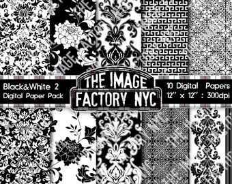 Black & White Vintage Wallpaper and Damask Inspired Digital Paper Pack Collection-Download and Print (TIFNYC-BWPP-2)
