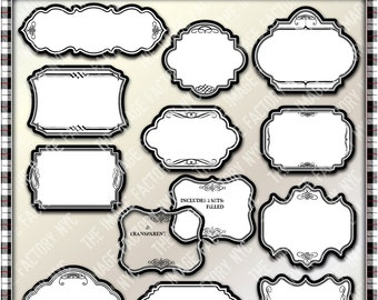 Decorative Black&White Clipart Frames for tags, cards, stationary, invitations, and all paper crafts. (TIFNYC-DBWFM-1) Download and Print.
