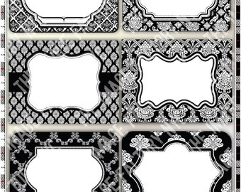 Black and White Damask Printable Labels & Tags, for gift tags, place cards, recipe cards, labeling, etc (TIFNYC-DBWLBL-2) Download and Print