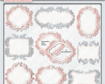 Damask Vintage Coral Clipart Frames for tags, cards, stationary, invitations, and all paper crafts. (TIFNYC-DDVCFM-3) Download and Print.