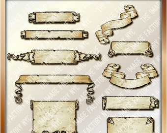 Vintage Banners Clipart Collection for cards, stationary, digital scrapbooking and all paper crafts (TIFNYC-BNRCAE-1)