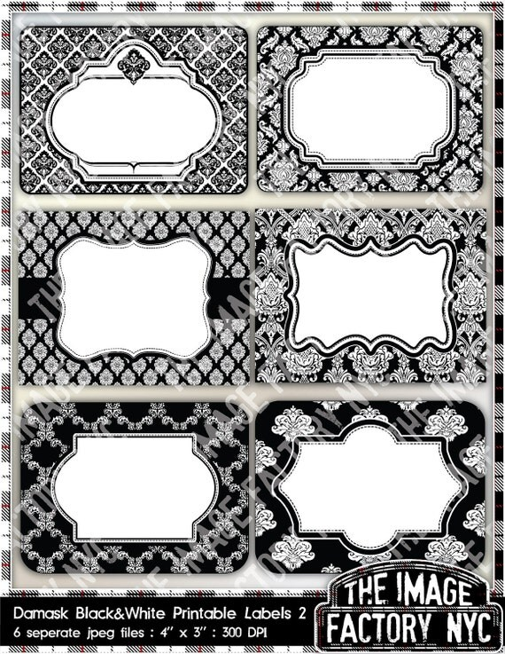 Black and White Damask Printable Labels & Tags, for gift tags, place ...